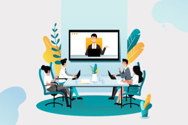 Illustration of video conference in a boardroom