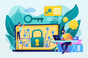 illustration with padlock and key on a laptop screen